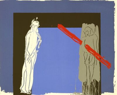 Bruce McLean, 'White Man, Grey Man And Red Lino (Hunt 62)', 1985