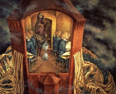Remedios Varo, 'Bordando el manto terrestre (Embroidering the Earth's Mantle)', 1961