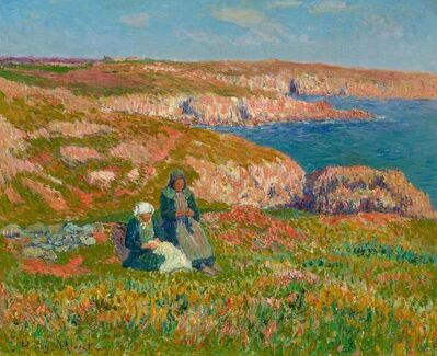 Henry Moret, 'Les Deux Bretonnes, Falaises a Moelan, Finistere'