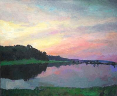 "Larry Horowitz, '""Moment of Solitude"" evening landscape with purple, pink sunset reflecting on pond', 2010-2017"