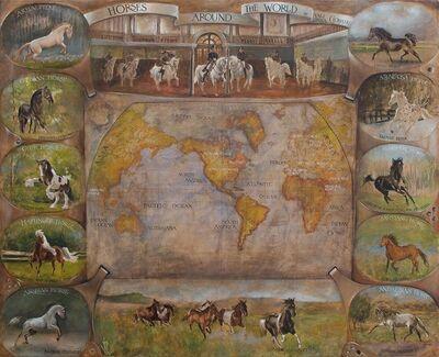Vali Irina Ciobanu, 'Horses around the world map', 2017