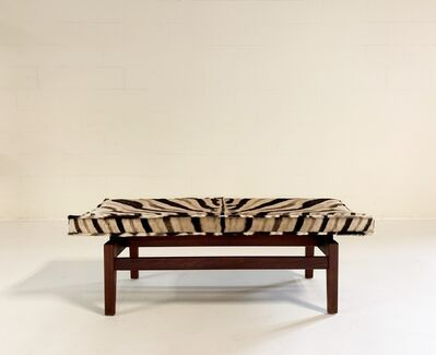 Jens Risom, 'Walnut Bench in Zebra Hide', 1950s