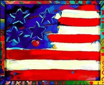 Peter Max, 'US Flag with Hearts', 1988