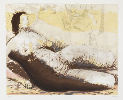 Henry Moore, 'Reclining Woman with Yellow Background', 1982