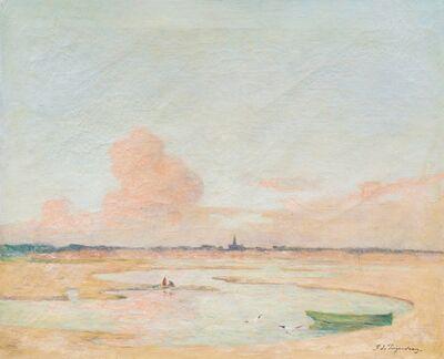 Ferdinand du Puigaudeau, 'Soleil couchant sur une plage au Croisic'