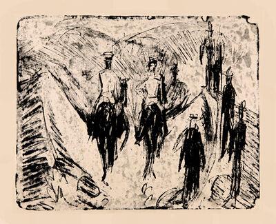 Ernst Ludwig Kirchner, 'Reiter durch eine Schlucht reitend', 1915
