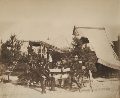 Gustave Le Gray, 'Chalons Encampment Scene: Lieutenant of Champagny , Capitaine Friant, the Prince Murat and Colonel Lepic', 1857/1857
