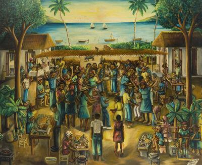 Wilson Bigaud, 'Haitian figures at a beachside bar'