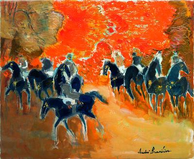 Andre Brasilier, 'Huit cavaliers en automne', 2018