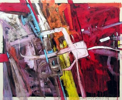 "Santiago Garcia, '""#3"" Abstract oil painting in vibrant red with blue, yellow, orange and purple', 2012"
