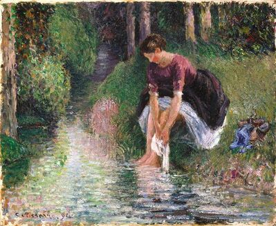 Camille Pissarro, 'Woman Washing Her Feet In A Brook', 1894