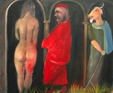Tasaduq Sohail, 'Rear view of female nude, man in red and goat-headed man', Undated