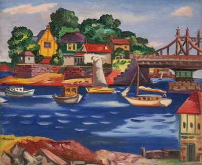 Jan Matulka, 'Bridge, Boats, Houses', circa 1925