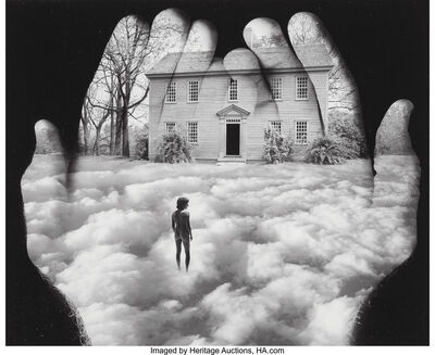 Jerry Uelsmann, 'Untitled (Hands with clouds and house)', 1989
