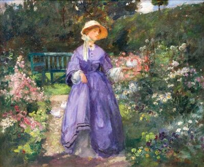 Osmund Pittman, 'Lady in Purple Dress in the Garden, Impressionist Style', 19th Century