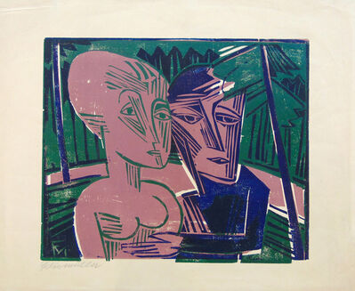 Conrad Felixmuller, 'People in the Forest (Couple in the Forest) | Menschen im Wald  (Paar im Wald)', 1918