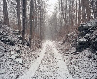 Jeff Brouws, 'Railroad Landscape #56, former Poughkeepsie and Eastern right-of-way as ingress to private hunting preserve (abandoned 1938), MP 92, view south, Winter, McIntyre, New York ', 2010