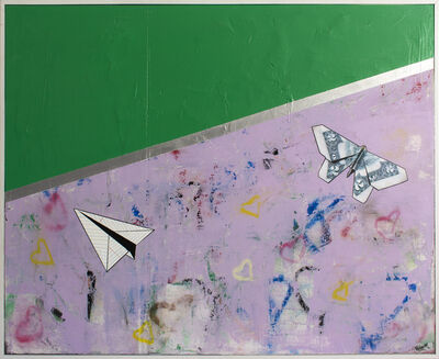 Guy Stanley Philoche, 'Leaf Green with Paper Airplane and Two Dollar Bill', 2019