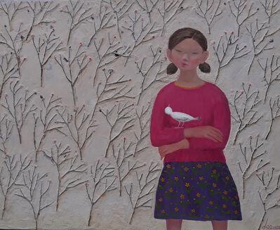 "Kui Dae Lee, '""Fille & Oiseau"" -- zen, quietude, symbolism, spiritual, Asia, imagery, reflection, beauty, dream, peace, girl, bird, flowers', 2020"