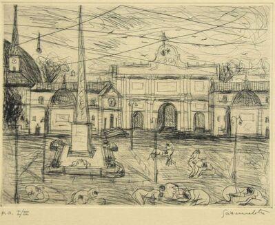 Nazareno Gattamenata, 'View of Piazza del Popolo, Rome - Etching by N. Gattamelata', Late 20th Century