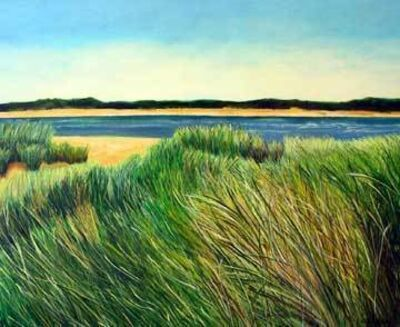 "Ellen Sinel, 'Grasses Series: ""Indian Neck, Blue Skies"" (dimensions provided are without frame)'"