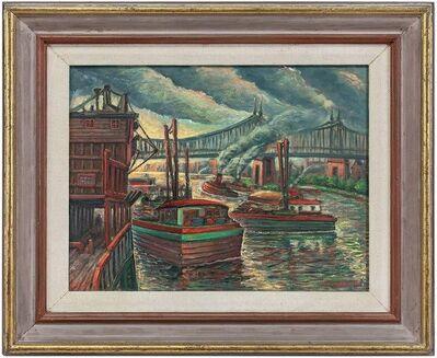 Maurice Kish, 'Around East River, NYC Bridge, City Scene Oil Painting WPA Era 1940s', Mid-20th Century