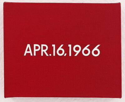 "On Kawara, 'APR.16,1966 ""2.500 demonstrators in Da Nang burned today a copy of premier Ky's decree promising South Vietnam an elected civilian government""', 1966"