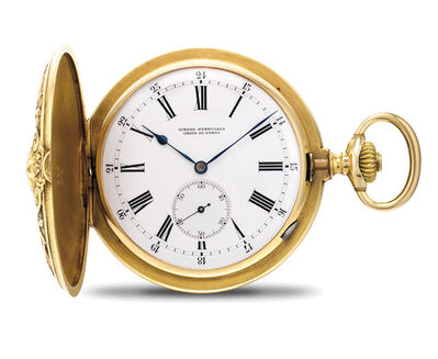 Girard Perregaux, 'A rare and very fine yellow gold detent chronometer hunter case pocket watch with chased and engraved case', Circa 1890