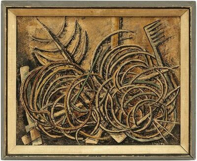"""Ernesto Linares, 'Modernist Mexican Artist """"Porters Garden"""" Abstract Expressionist Oil Painting', 1940-1949"""