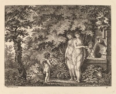 Salomon Gessner, 'Eros with Three Girls at a Fountain', 1770