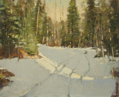 Irby Graves Brown, 'Evergreens in Winter Light'