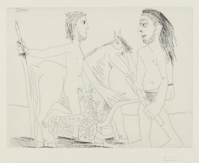 Pablo Picasso, 'Télévision: Combat de chars à l'antique (B. 1510; Ba. 1526)', 1968