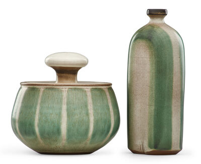 Rupert J. Deese, 'Covered jar and vase with green stripes, Claremont, CA'
