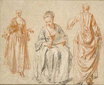 Jean-Antoine Watteau, 'Studies of Three Women', 1716-1717