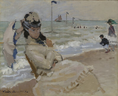 Claude Monet, 'Camille on the Beach in Trouville,', 1870