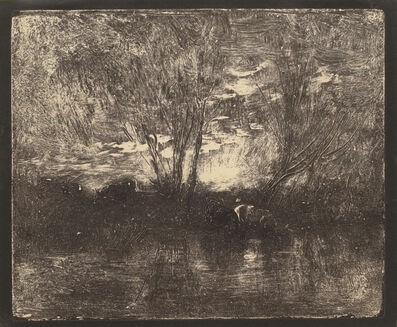 Charles François Daubigny, 'Cow by the Watering-Place', 1862