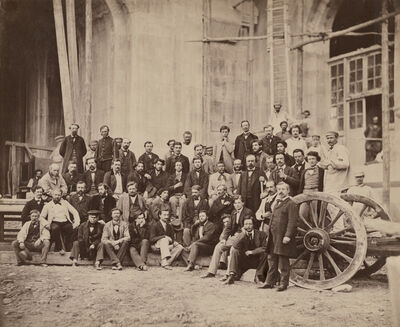 Louis-Emile Durandelle, 'Portrait of Charles Garnier with the Architects, Officials and Workers of the Opéra Agence, the agency run by architect Garnier for the construction of the Palais Garnier of the Paris Opera', 1866-1869