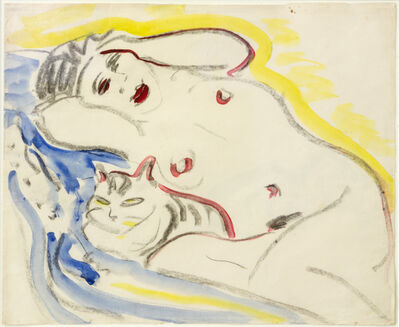 Ernst Ludwig Kirchner, 'Liegender weiblicher Akt mit Katze (verso: Weisse Katze)', 1908