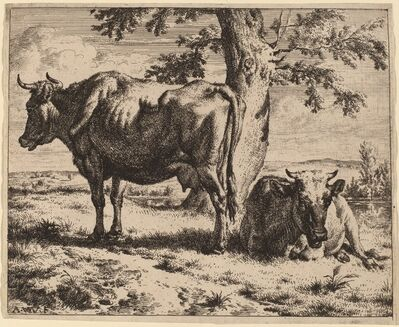 Adriaen van de Velde, 'Two Cows under a Tree', ca. 1670