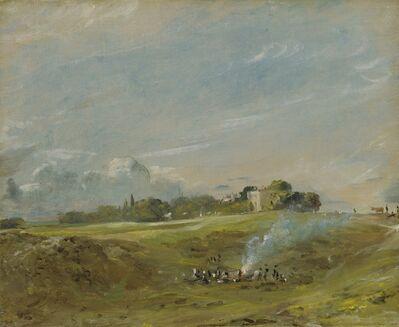 John Constable, 'Hampstead Heath, with a Bonfire', ca. 1822