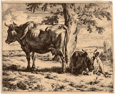 Adriaen van de Velde, 'Two Cows Under a Tree', ca. 1670