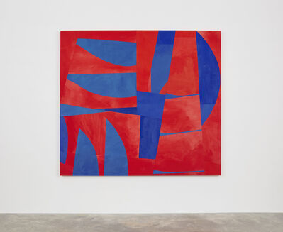 Sarah Crowner, 'Sliced Red and Blue (New Weed)', 2017