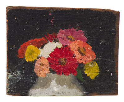 Robert Kulicke, 'Pink, Yellow, Orange and Red Zinnias in White Half Vase. Half Length, Against a Black Background'