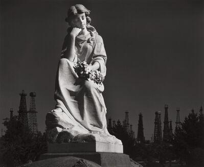 Ansel Adams, 'Cemetery Statue and Oil Derricks, Long Beach, California', 1939