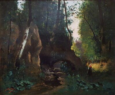 Unknown Artist, 'Woman in Forest Landscape', ca. 1860