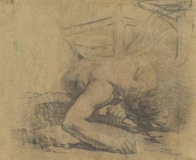 Jean-Baptiste Deshays, 'Man Reclining on the Ground and the Corner of a Bed [verso]', 1758/1765