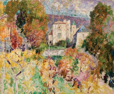 Victor L. Charreton, 'Chateau with Flowering Trees'