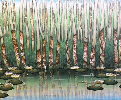 "Gustavo Novoa, '""Leopard Reflections"" Animalia Tropical Jungle Painting Gustavo Novoa', 20th Century"