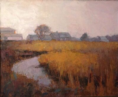 Larry Horowitz, '''Misty Marsh'' oil painting  yellow and brown landscape with small lake', 2019