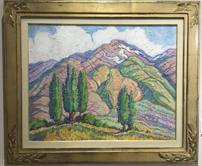 Birger Sandzén, 'Poplars and Mountains', 1900